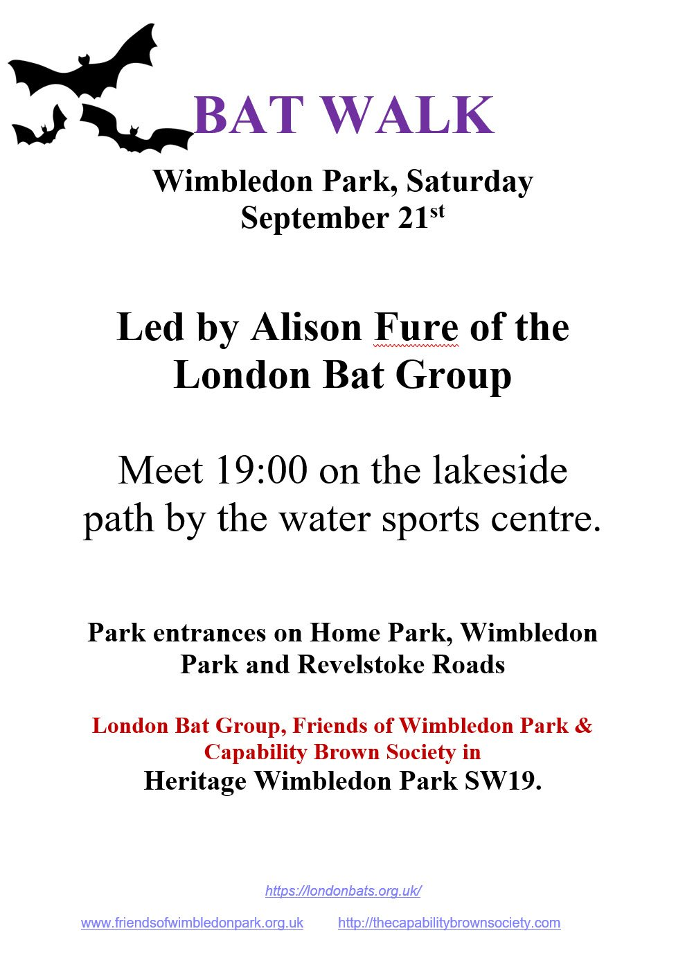 Take part in our Bat Walk 🦇 on 21 September. Wimbledon Park is home to seven species of #bats and the lake area is possibly one of the best sites for foraging bats in south London. https://t.co/IidblRwDHE
