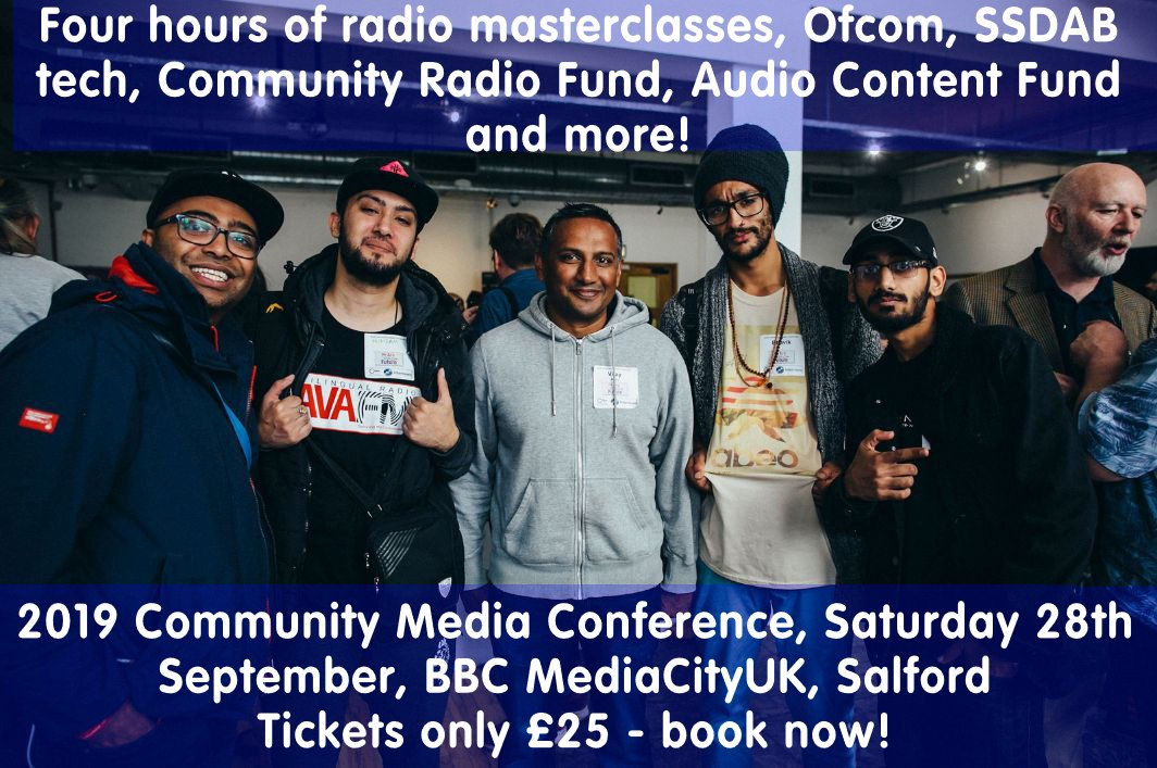 test Twitter Media - Book now for the 2019 Community Media Conference Saturday 28th September - only £25/person at BBC MediaCityUK, #Salford. Four hours of #radio masterclasses, #SSDAB updates & info, @AudioFund advice, funding advice, #podcasts & more! #communityradio #communitymedia https://t.co/mOgWs9xXgu