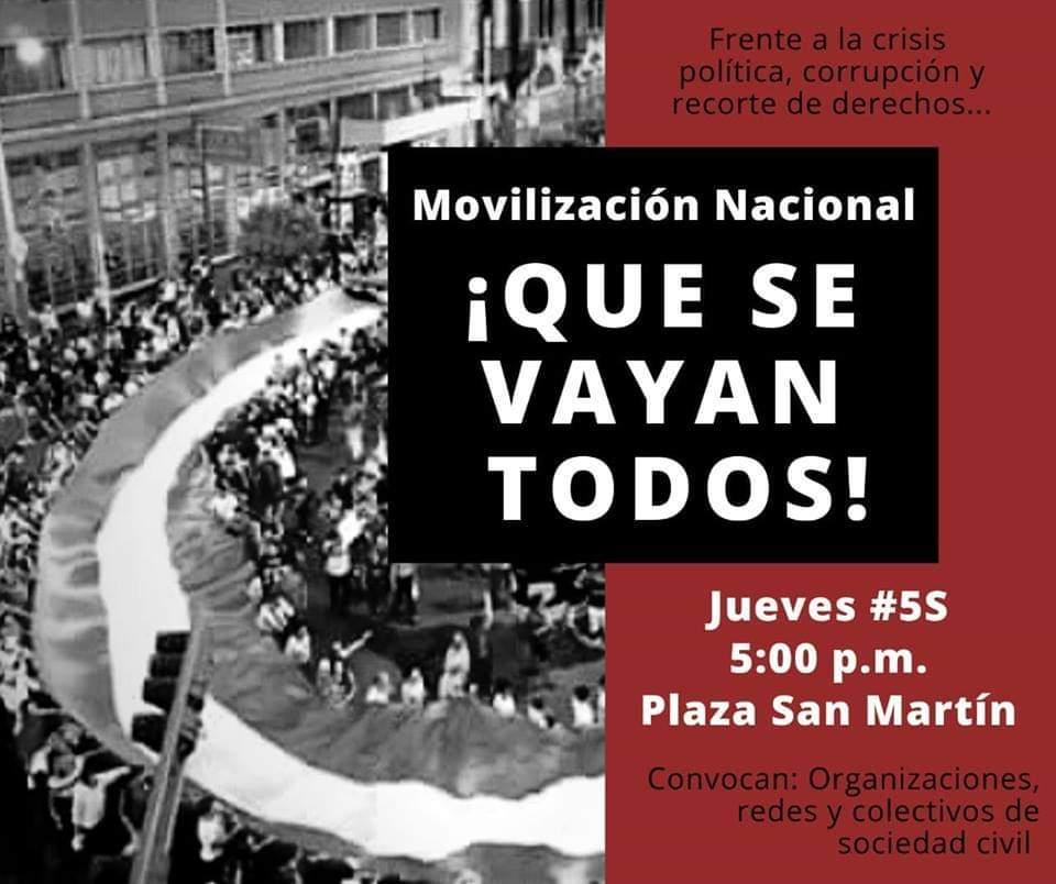 Movilización Nacional #QueSeVayanTodos Jueves #5S 5:00 p.m. Plaza San Martín https://t.co/KHWZOR4fhI