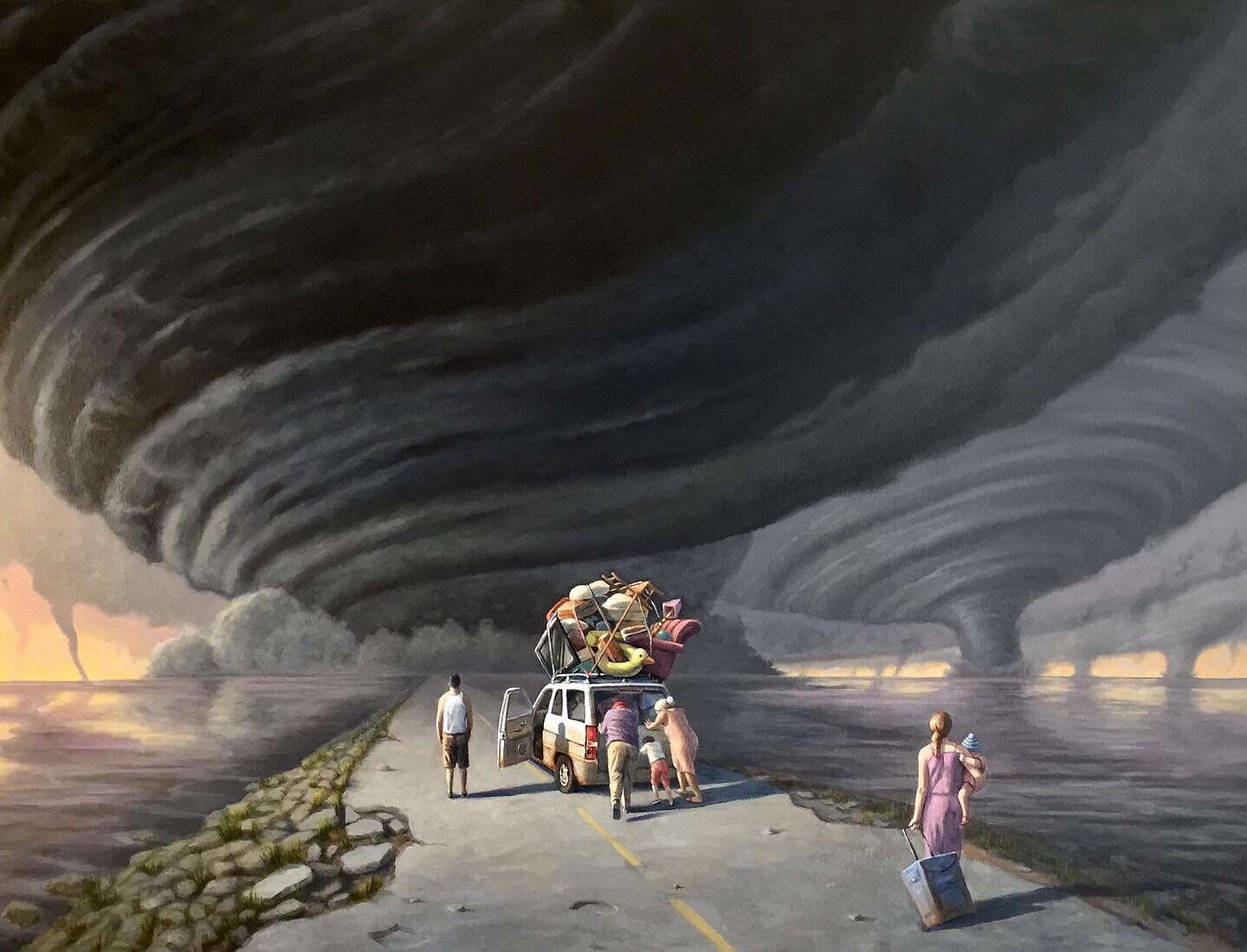 """""""The Causeway"""" Just finished this in time for Dorian to show up. It's a metaphor for the near future when we are no longer able to continue with business as usual. #Dorian #HurricaneDorian #tornado #ClimateChange #GlobalWarming #climaterefugees #art #painting #politicalart https://t.co/VHOacnyQhM"""