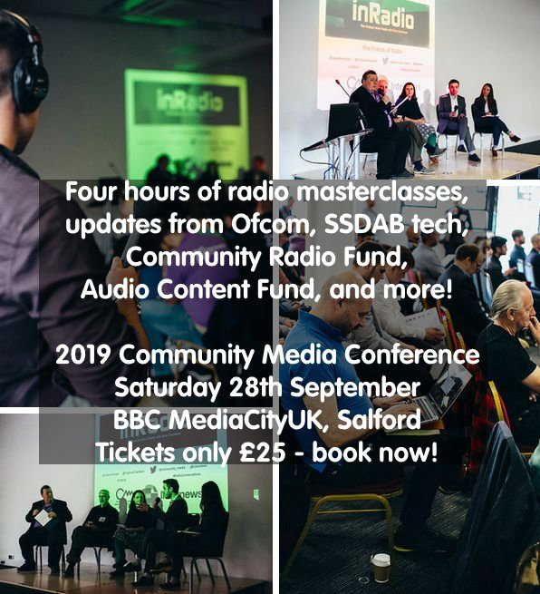 test Twitter Media - Saturday 28th September at BBC MediaCityUK, #Salford - tickets only £25/person. Book now: https://t.co/rSNTf2WZH6  Four hours of radio masterclasses, updates from @Ofcom on #SSDAB, funding advice from @AudioFund & the Community Radio Fund. Plus lunch & networking. #communityradio https://t.co/OeyCO1OYgz