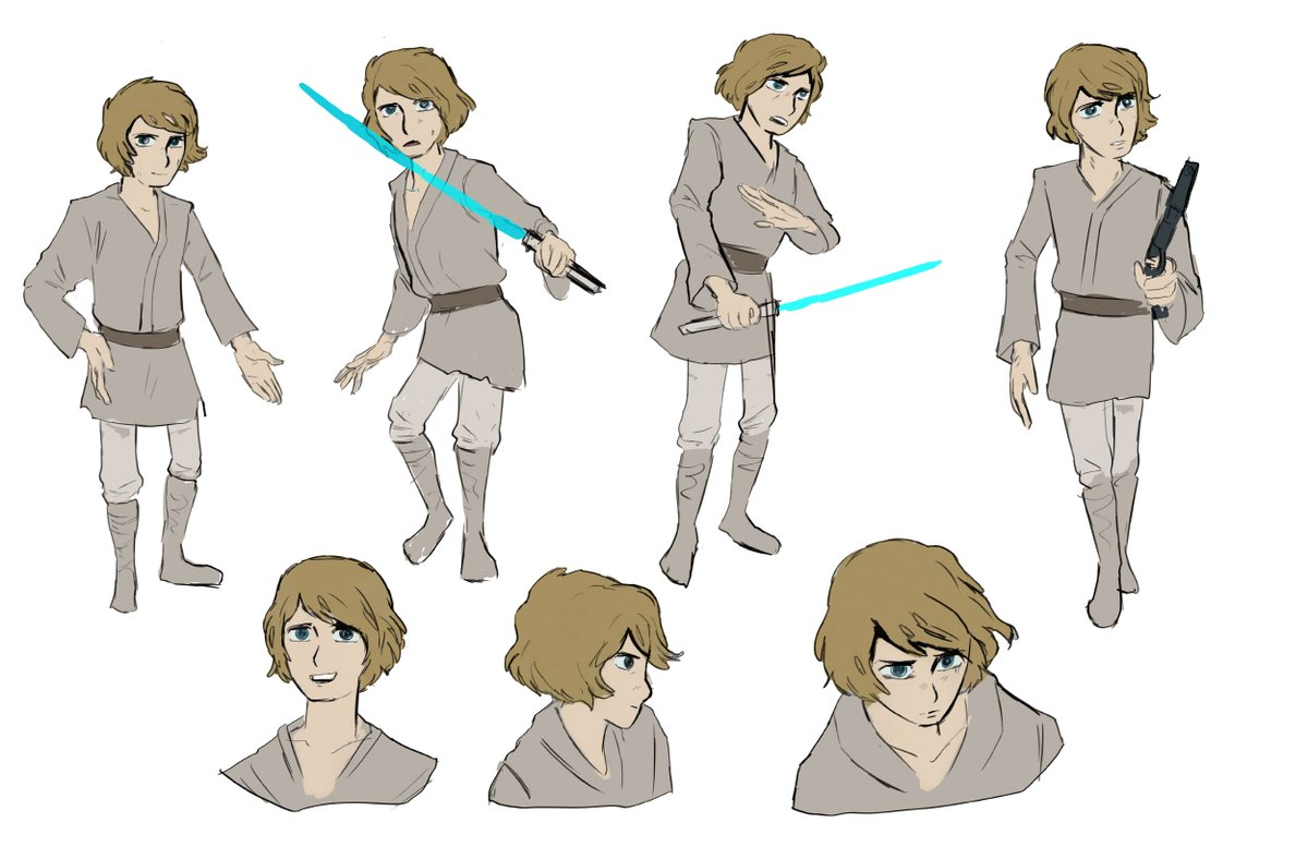 If Star Wars was a 1970s anime- and Leiji Matsumoto (Captain harlock, Galaxy Express 999) was the designer for it. Leiji Matsumoto studies. Here's luke
