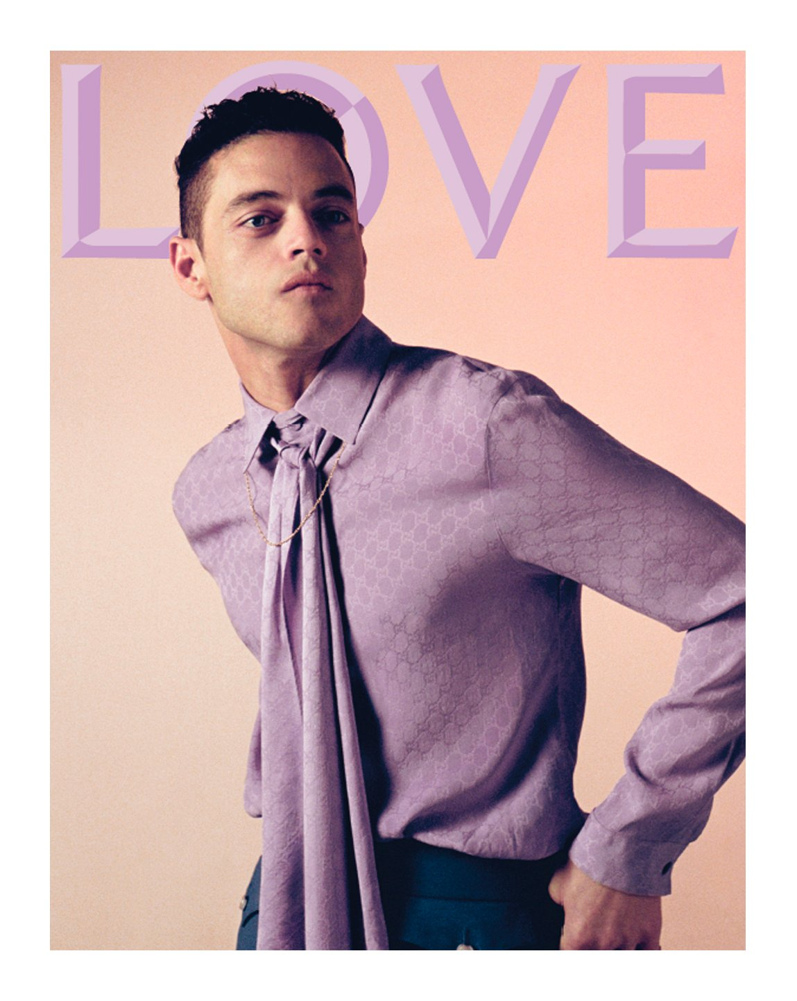 Featured on the cover of @THELOVEMAGAZINE issue 22 @ItsRamiMalek in a men's GG motif silk neck tie shirt by #AlessandroMichele. #GucciEditorials  Photography: #SteveMackey & #DouglasHart Creative Director and Fashion Editor: @kegrand https://t.co/816P2CaUOp