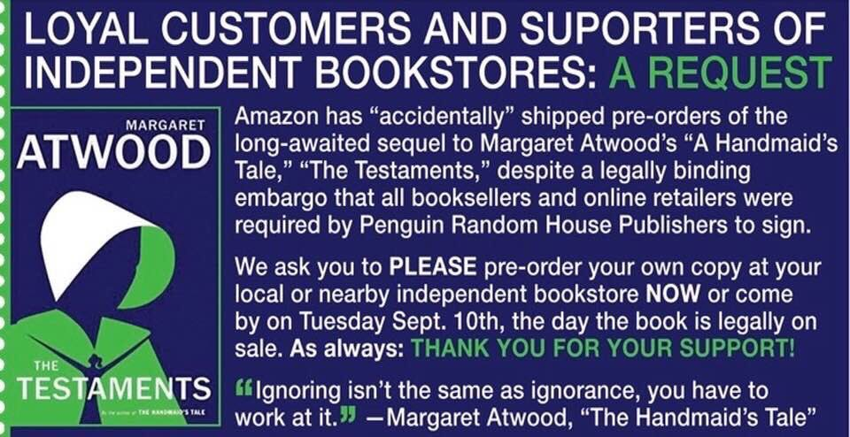 This a notice from the American Bookseller Association-please buy your copy from GGP or your local independent bookseller. Remember shopping local supports your community keeps your dollars there. https://t.co/iUsyMAZrOS