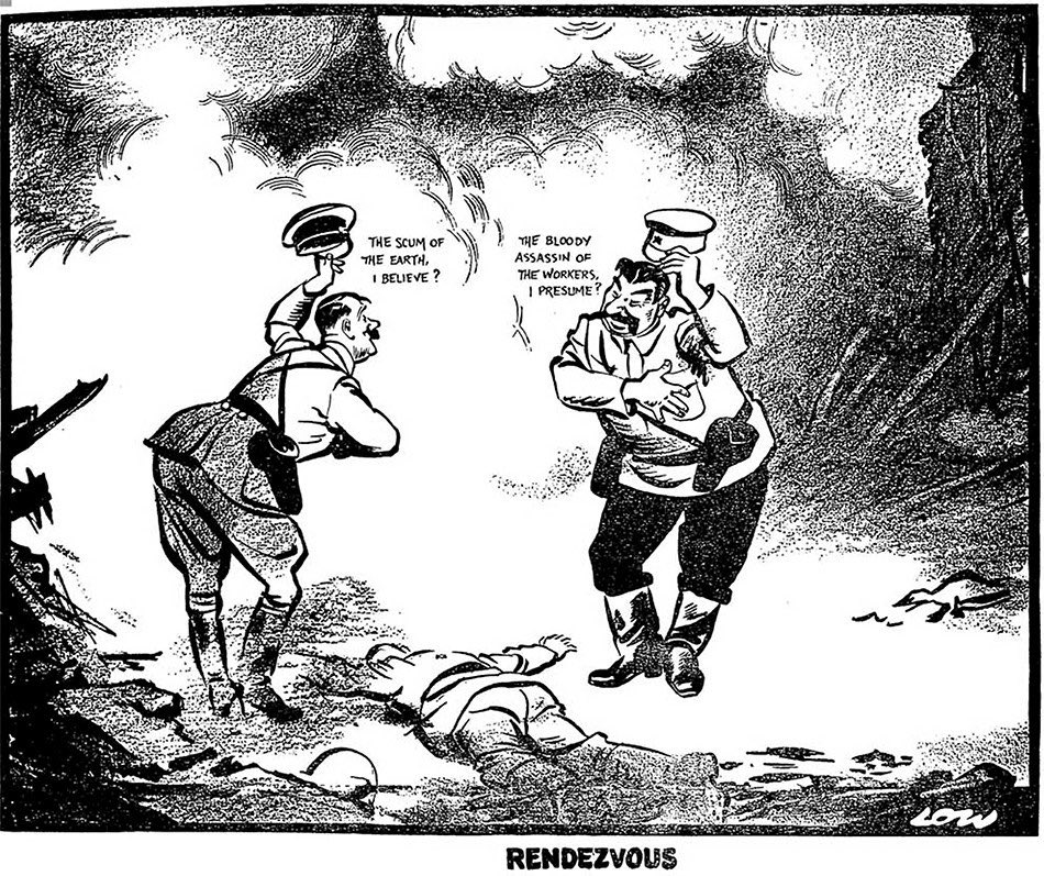 'Rendezvous' by David Low. The most famous cartoon ever drawn by a Kiwi - and possibly the most well known cartoon of the 20th century - was published 80 years ago today, 20 Sept 1939. Low was so hated by Hitler he was on the Gestapo arrest list. A Great New Zealander. https://t.co/r5QxrpVCUN