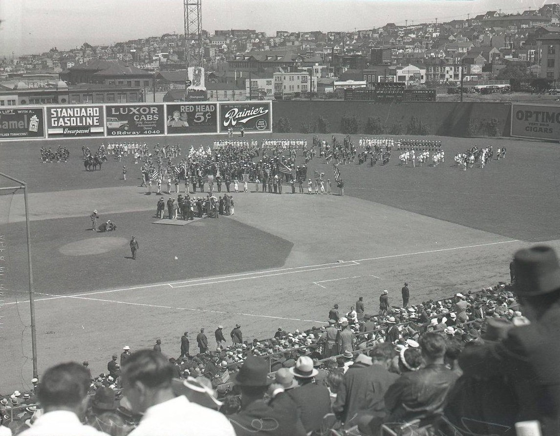 Seals Stadium, San Francisco, Apr 3, 1937 - One of largest opening day crowds in years are watching pregame ceremonies before two PCL rivals in the Mission Reds and San Francisco Seals take the field for the first of a 178 game season. Seals won a thriller 7-6 with a 5-run 8th https://t.co/QAsh5FCCh8