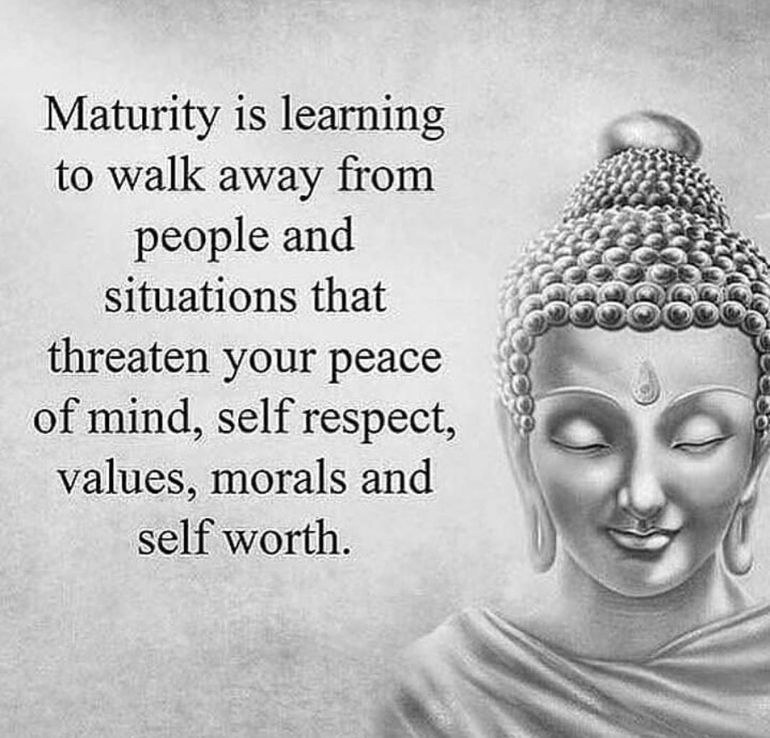 #Maturity is #learning 2 #walkaway frm #people & #situation dat #threaten ur #peaceofmind #selfrespect #values #morals & #selfworth  #GoodMorning #Sunshine #WakeUpWithASmile #AlwaysKeepSmiling #thoughtoftheday #ThursdayThoughts #dailythoughts #dailyquotes #quoteoftheday https://t.co/87IMspxclx
