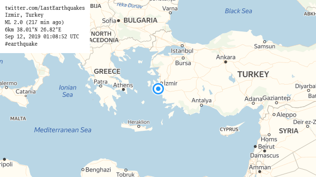 Izmir, Turkey ML 2.0 (217 min ago) 6km 38.01°N 26.82°E Sep 12, 2019 01:08:52 UTC #earthquake  | tweeted by @LastEarthquakes