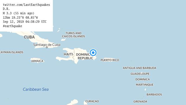 D.R. M 3.3 (55 min ago) 12km 19.23°N 68.85°W Sep 12, 2019 04:38:29 UTC #earthquake  | tweeted by @LastEarthquakes