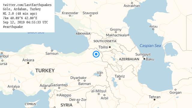 Göle, Ardahan, Turkey ML 2.0 (48 min ago) 7km 40.89°N 42.80°E Sep 12, 2019 04:55:33 UTC #earthquake  | tweeted by @LastEarthquakes