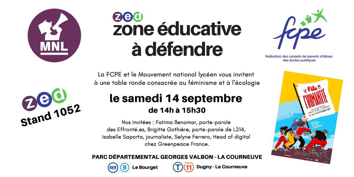 """test Twitter Media - [Fête de l'Humanité]. Venez nombreux assister à la table ronde """"Féminisme et écologie"""" organisée par la FCPE, samedi 14 septembre de 14h à 15h30 @FetedelHumanite @L214 @greenpeacefr @MNL_national @LesEffrontes @isabellesaporta https://t.co/xBGlhNnw9D"""