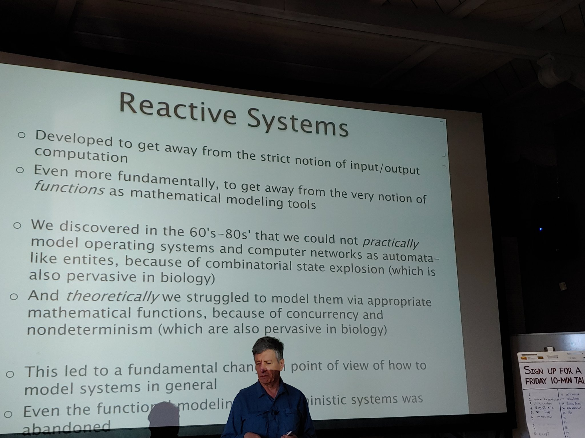 Luca Cardelli introducing reactive systems, which go beyond simple input-compute-output, and beyond deterministic execution, to a broader class of computations writ large. At @sfiscience biological computation workshop. https://t.co/LLVPuw7Kqi
