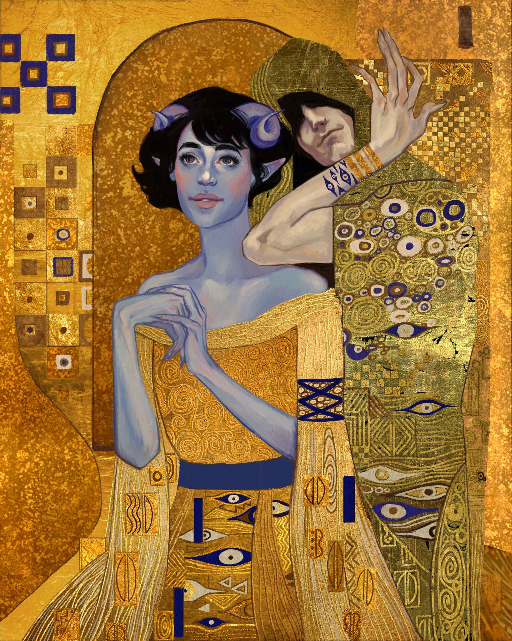 Part 2 of 4 The Klimt one was soooo difficult.  Caduceus was a soothing joy, as always. Jester- Gustav Klimt Caduceus- Alphonse Mucha #criticalrolefanart https://t.co/ZbNJXhaz4B