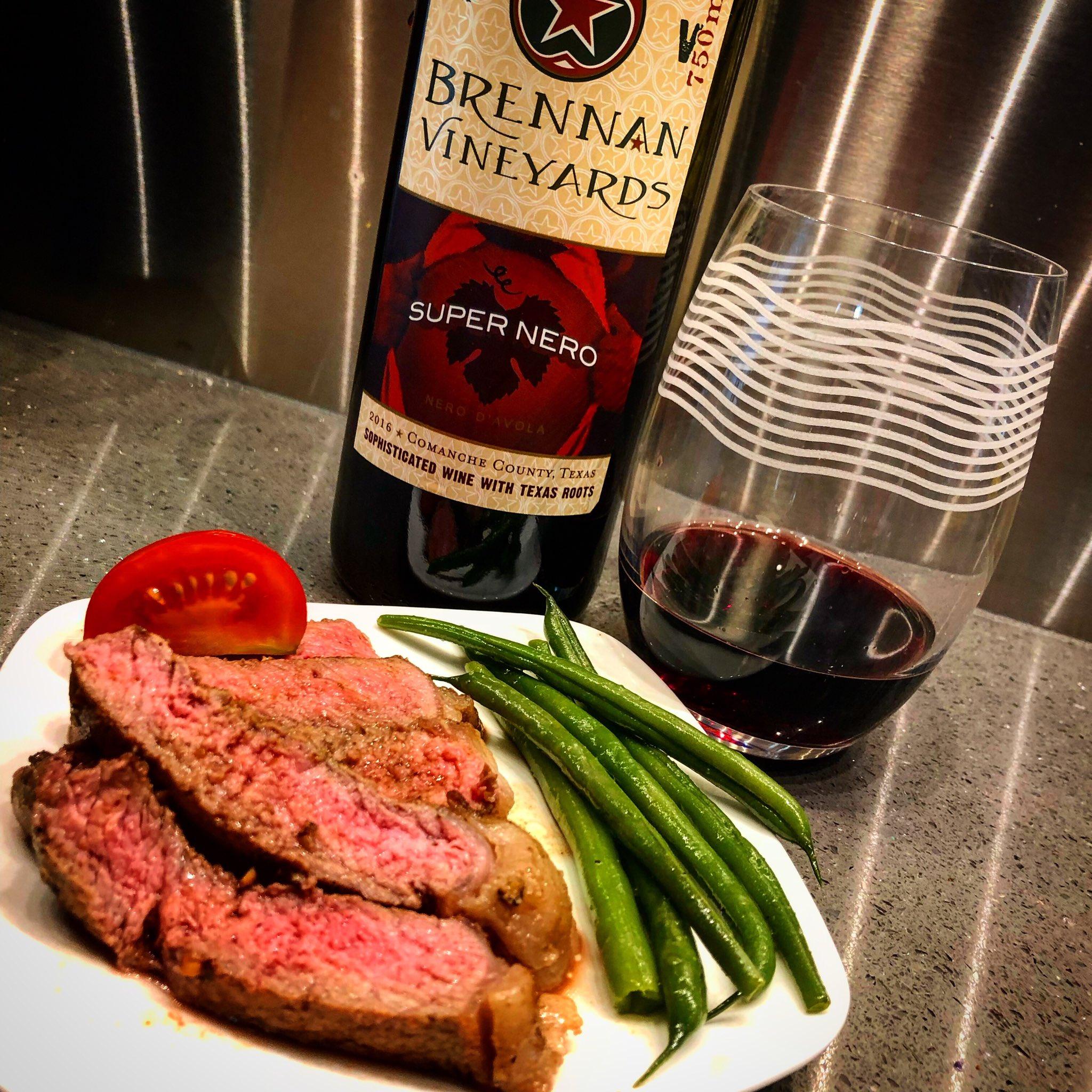 It's petite steak night with vino rojo grande @BrennanVineyard #SuperNero #nerodavola blend #Txwine #Delightful #steaknight https://t.co/l4bLVnymMH