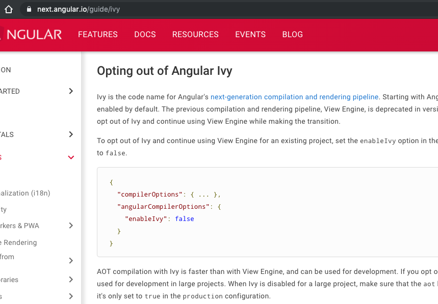 "ICYMI, Ivy will be on by default with Angular 9. The new docs don't mention the ""Opt in"" article any more, but rather it's ""Opt out"" now (in case you cannot switch to Ivy yet).  I highly recommend to try it out now and report any issues back to the team via GitHub https://t.co/2UxX2m8tW2"