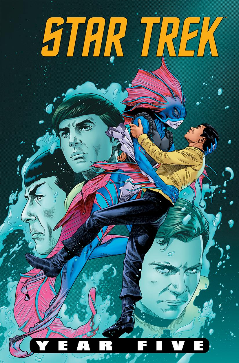 "Sulu reenacts ""The Shape of Water"" on the cover of STAR TREK: YEAR 5 #9 (artwork by Stephen Thompson) -- somebody call @actordougjones!  #StarTrek https://t.co/nqGIXxA3fz"