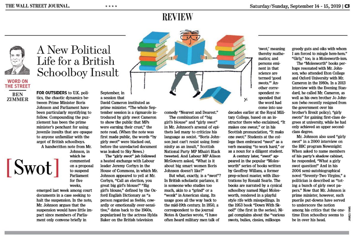 "test Twitter Media - In this weekend's @WSJ Review section: Boris Johnson's puerile putdown for David Cameron is ""girly swot."" But what's a ""swot""? https://t.co/NfaLMaJL16 https://t.co/FgpzmxBKGg"