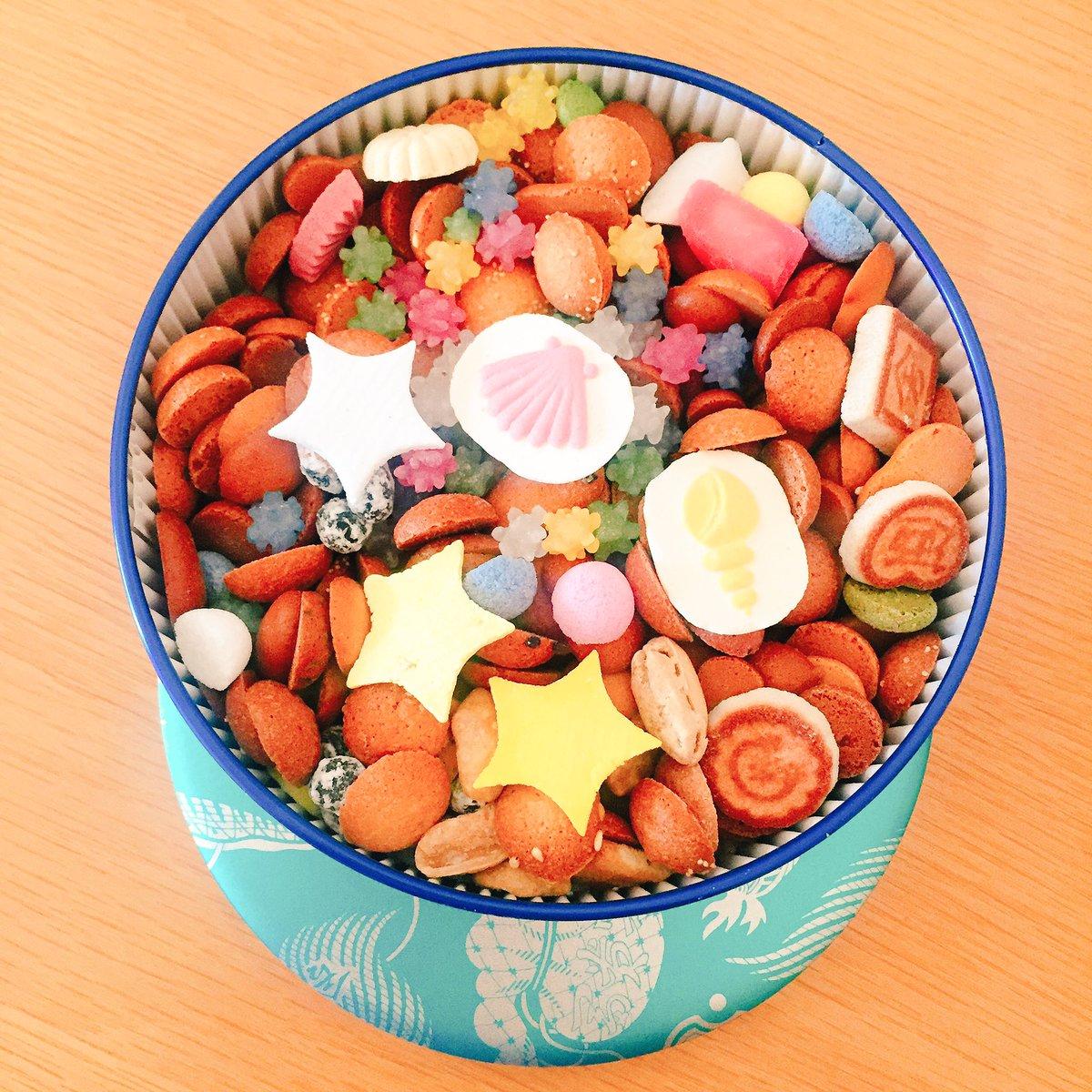 test ツイッターメディア - 冨貴寄っていう和菓子を頂いたんだけど素敵…季節限定の夏色缶というやつだから貝殻とか星モチーフのお菓子入ってて、ひい…可愛い… https://t.co/7vOUNixTIy