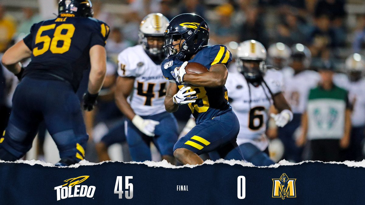 test Twitter Media - Rockets Win!  Toledo takes down Murray State, 45-0!  The Rockets rack up 538 yards of total offense and post their first shutout since October 14, 2000!  #GoRockets #ThisIsToledo 🚀🏈 https://t.co/aYpqA3Mr8v