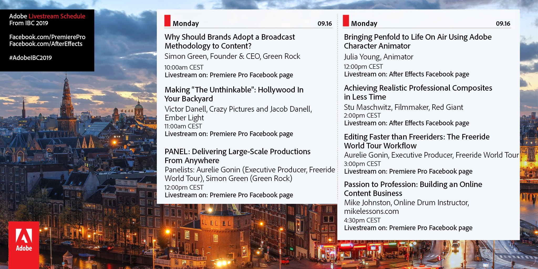 Here's a look at our presentation schedule for Monday, Sept 16th @IBCShow.   #IBC2019 | #AdobeIBC2019 https://t.co/2D1te3UTlj