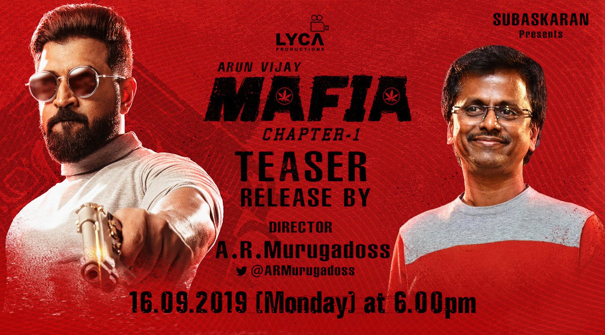 Ace director @ARMurugadoss will launch the teaser of #MAFIA 🍁 tomorrow at 6️⃣ PM  @karthicknaren_M @arunvijayno1 🦁 @Prasanna_actor 🦊 @priya_Bshankar @DoneChannel1 #MafiaTeaser ▶️