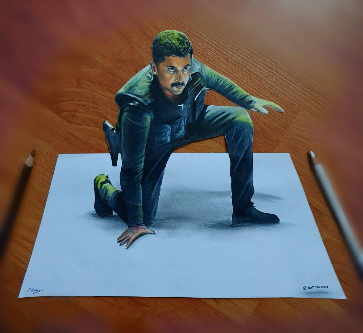 The 3D Artwork of our #kaapaan @Suriya_offl  anna🔥🔥  Kaappaan from 20th September ❤❤ @anavenkat @LycaProductions Materials: A4 paper, Staedtler pencil HB,2B and prisma color pencils ✏ #suriya #suriyasivakumar #suriyafans #sooraraipottru #agaram #art_realistic