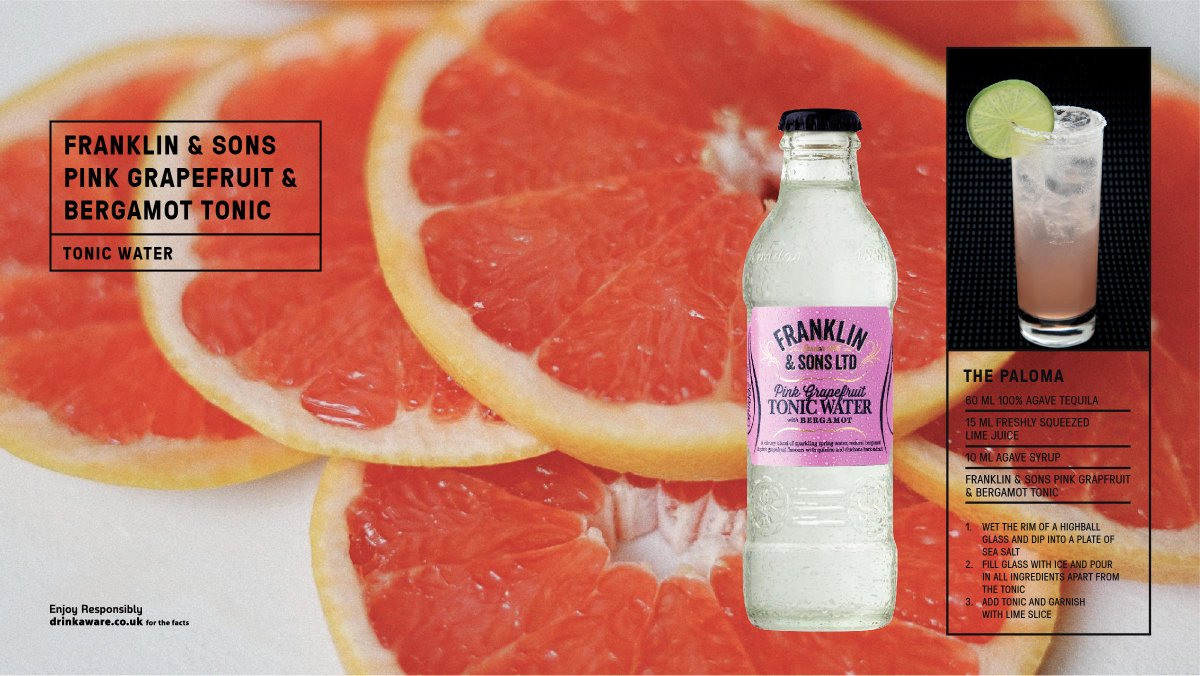 @FranklinandSons Pink Grapefruit & Bergamot Tonic is greatly appreciated with floral gins or ones using tea as a botanical. Also partners wonderfully with a light blanco tequila. #britain #bestofbritain #GandT  Read more here https://t.co/vRsV9kpZpC https://t.co/F0Kh3oCEoB