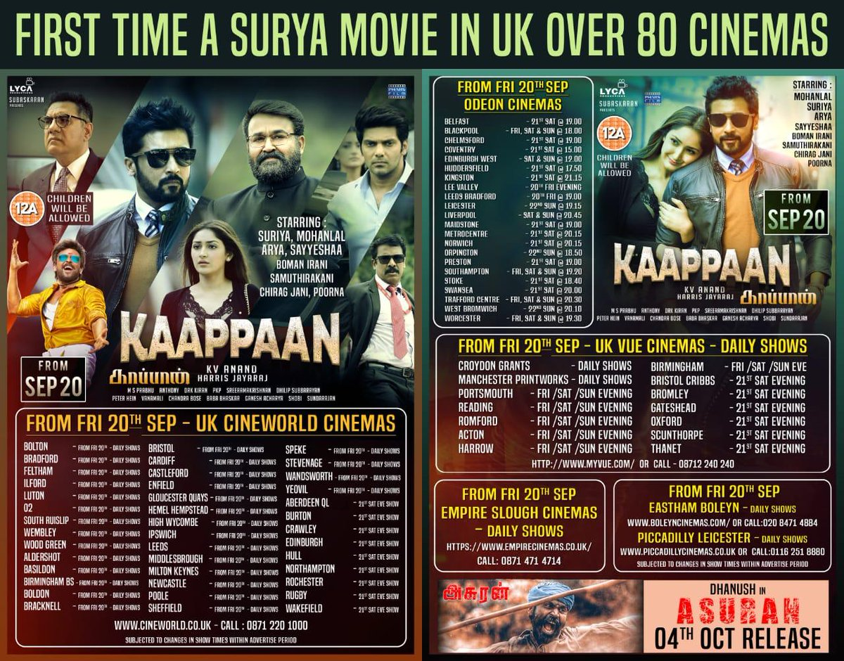 #2DaysToGoForKaappaan #KaappaanFromSep20   #BigFilmsLtd will be releasing the film in UK over 80 Cinemas, which is a record for @suriya_offl film  @PharsFilm  #KaappaanWithPhars #2DaysForKaappaan