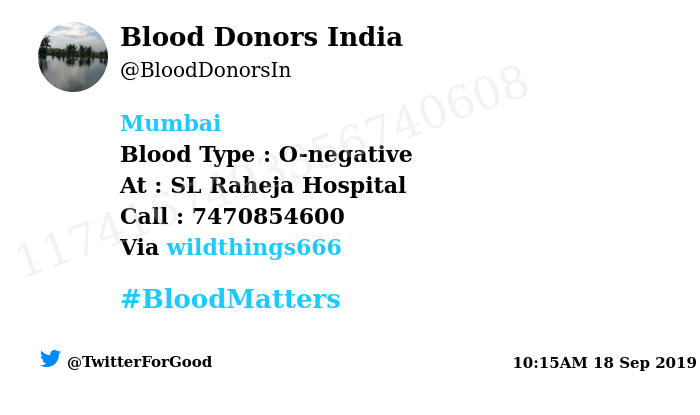 test Twitter Media - #Mumbai Need #Blood Type :  O-negative At : SL Raheja Hospital Number of Units : 3 Primary Number : 7470854600 Via: @wildthings666 #BloodMatters Powered by Twitter https://t.co/WURjSTR6mQ