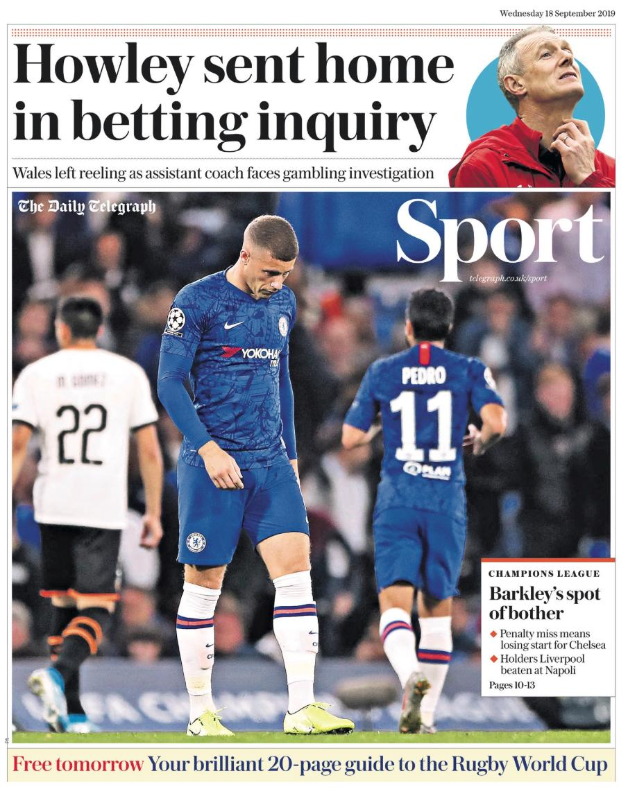 test Twitter Media - Today's back pages: Liverpool and Chelsea are Champions League 'chumps' and Wales coach Howley leaves Rugby World Cup  A round-up of the sport headlines from UK newspapers on 18 September.  Read more @TheWeekUK: https://t.co/7Nd368NdOU  #ChampionsLeague #RWC2019 #BackPages https://t.co/MusY7oAE15