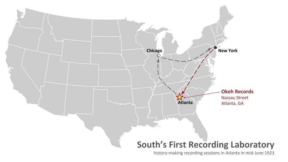 """But in June 1923, NYC-based #OkehRecords took their new portable equipment to Atlanta & set up a temporary """"recording laboratory"""" at 152 Nassau Street. Southern musicians could finally be recorded in the South! A new era was born... #musichistory @ATLStudies https://t.co/BjswPYfGTg"""