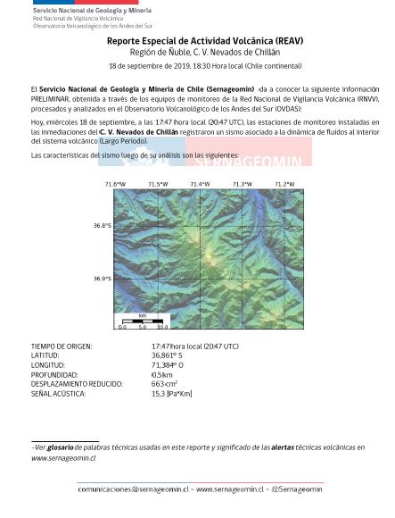 NEVADOS DE CHILLÁN! Las estaciones de monitoreo de  @Sernageomin instaladas en el volcán #Chillán registraron evento explosivo asociado a sismo de tipo LP, relacionado con fluidos al interior del sistema volcánico. Se mantiene alerta #Naranja. https://t.co/mJzsc4j4l1