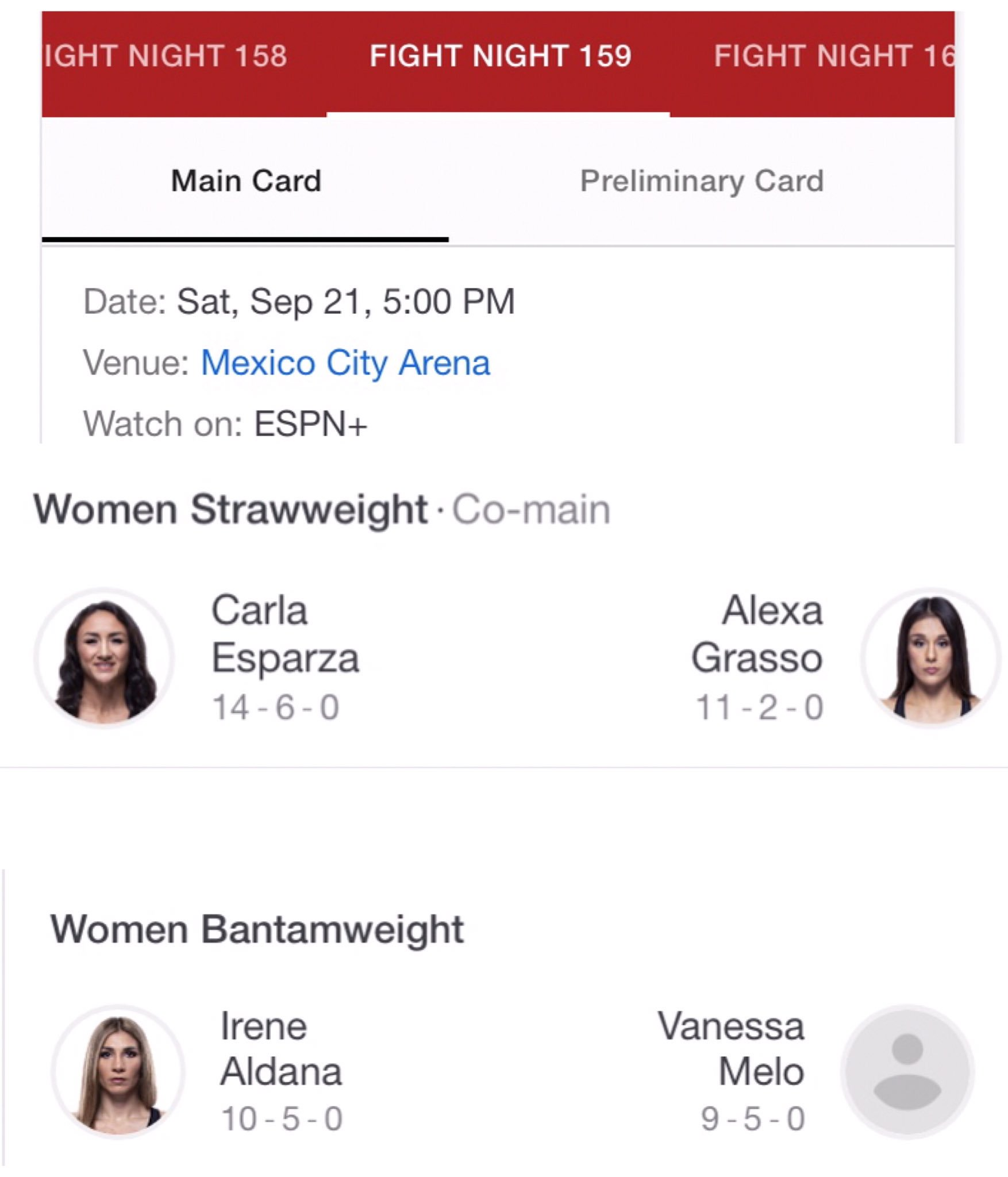 Here's your main card: The Cookie Monster @CarlaEsparza1 will face off against the gritty tough @AlexaGrasso  and @IreneAldana_ will take on Vanessa Melo #ufcmexicocity #fightnight159 #carlaesparza #alexagrasso #irenealdana #vanessamelo #ufc #wmma #mma https://t.co/rxPDI1VC3m