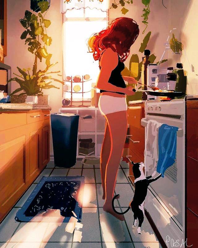 💜#ARitmoDelCuore 💜   🍁Bu☀️ngiorno            nuovo🍂🍂       #2ottobre 🌰  ♥︎A stare con gli animali  si rischia di diventare  persone migliori♥︎  🖋Oscar Wilde🐾🐾  🖼 #illustration #deviantart  The simple joyful moments  of everyday life  by Pascal Campion 🇺🇸 https://t.co/ELxaBisToF