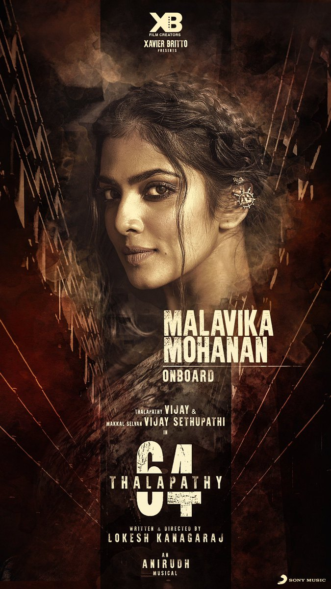 A whole lot of beauty and a dash of elegance, that's @MalavikaM_ for you as the female lead of #Thalapathy64! Welcome on board ☺  #MalavikaJoinsThalapathy64 #Summer2020  @actorvijay @Dir_Lokesh @vijaysethuoffl @anirudhofficial @SonyMusicSouth