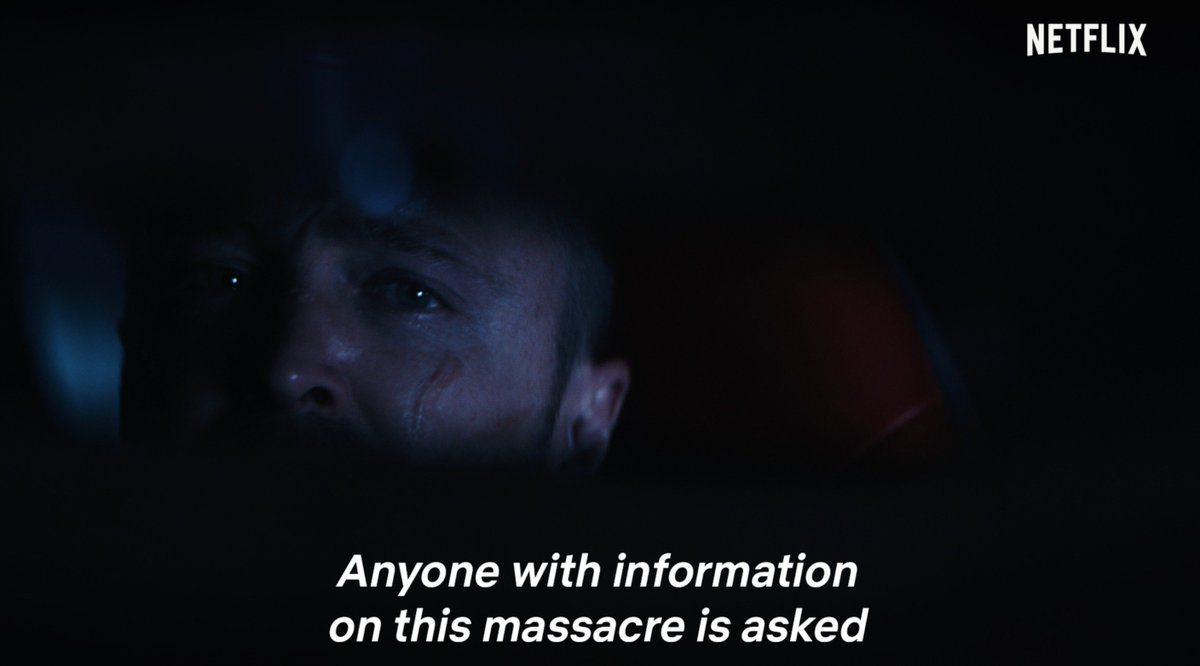 """""""Investigators are searching for a person of interest who fled the scene. Anyone with information on this massacre is asked to call the police immediately.""""   El Camino: A Breaking Bad Movie comes to Netflix and select theaters on October 11."""