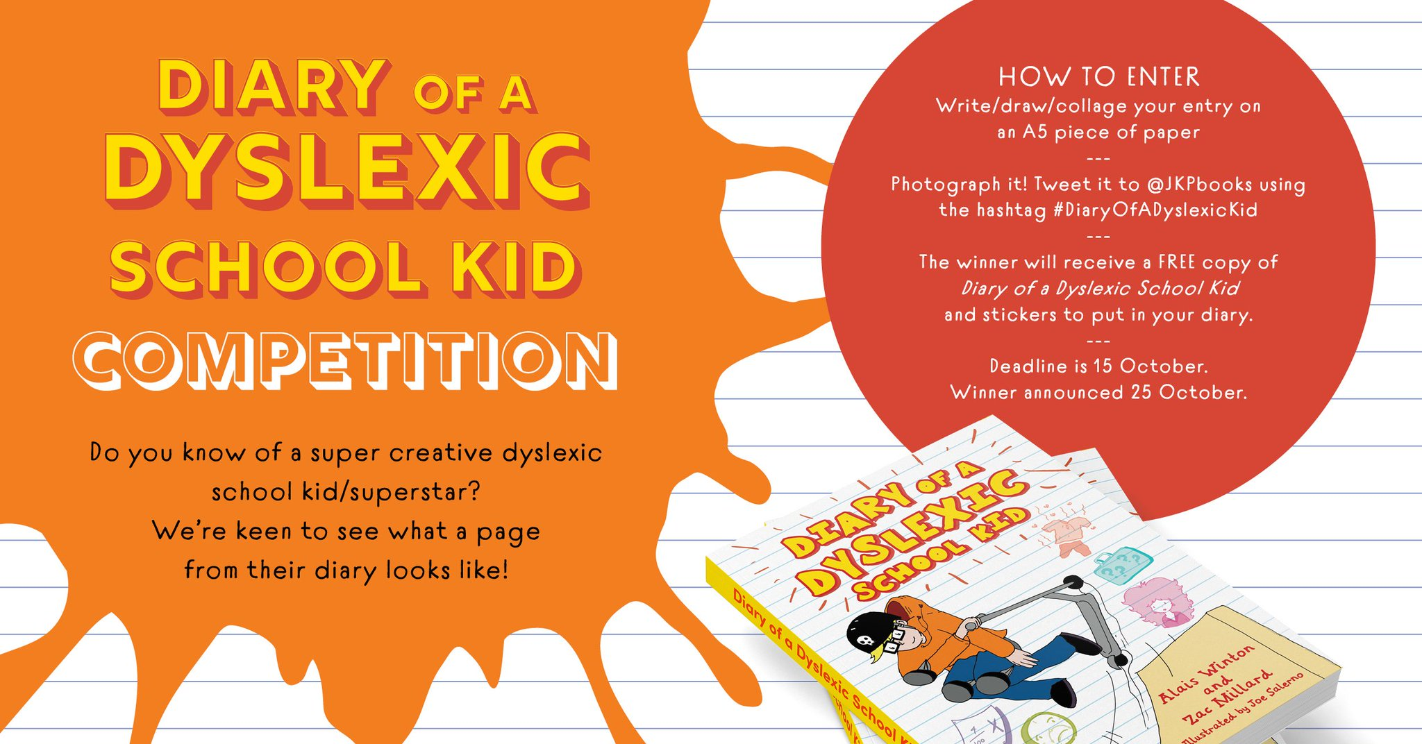 ENTER OUR COMPETITION:   We're running a competition for dyslexic kids to show off their creative flair.   Winners will receive a free copy of 'Diary of a Dyslexic School Kid' and stickers.   See the instructions for how to enter in the image below. #Dyslexia #DiaryOfADyslexicKid https://t.co/lfbSWiCFtj