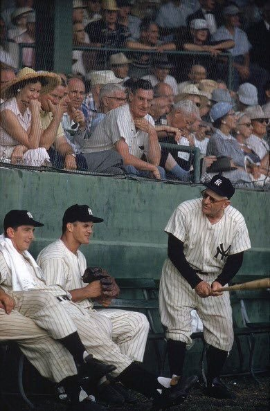 "As you know, usually I do not post picture in colour, however, this one is too good to pass up.  Here's Casey Stengel ""giving"" batting tips to Billy Martin and Bill Skowron https://t.co/NqrlkSoZ80"