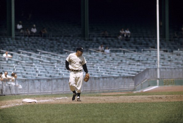 #OTD in 1954 at Yankee Stadium, A's play their final game representing the city of Philadelphia in 8-6 win before they would bolt for Kansas City. It was also the only game Yogi Berra in his 1,699 game career played 3rd base as seen here. Mantle was at shortstop and Moose at 2B https://t.co/eb6DZxZtCg