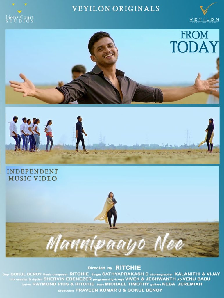 Happy to release this independent music video #mannipaayonee  directed by @RitchieGPaul. Best wishes to the entire team @gokulbenoy @dsathyaprakash @jeshu1990 @sdev_actor @shervinvinu @LionsCourtS @veyilon