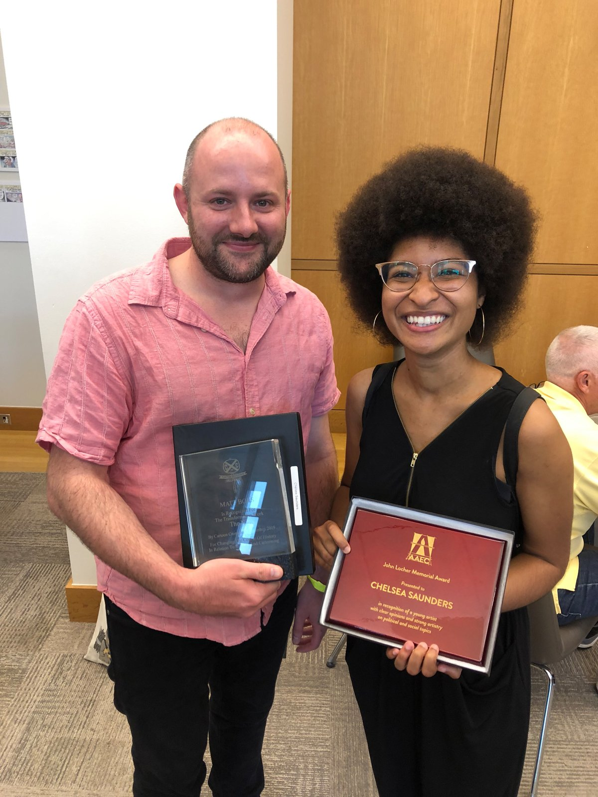 Congratulations to Nib contributor Chelsea Saunders for her Locher Award win! We were lucky to be there this weekend at CXC to see her accept it.  We'd also like to thank @CXCFestival for giving @MattBors the Transformative Work Award for his work founding and editing The Nib! https://t.co/iHQYpvk0h9