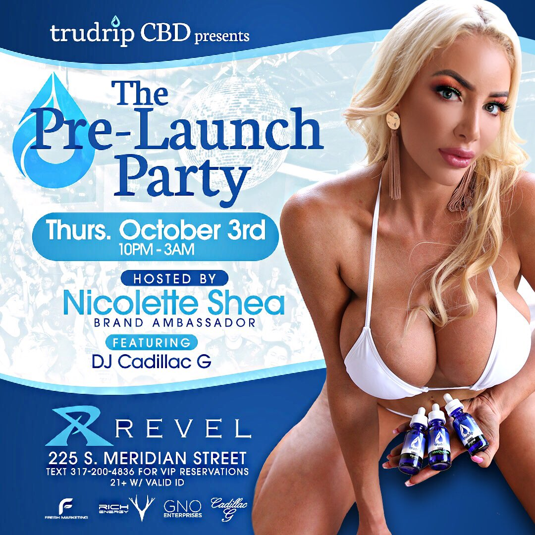 INDIANAPOLIS! I'm coming day after tomorrow!!! 😍So excited to be hosting @trudripcbd launch party 🎈 off to Indiana on 10/2 and you can meet me the Revel Nightclub 11PM on October 3rd (225 S. Meridian St.) ❤️❤️❤️see you soon😽