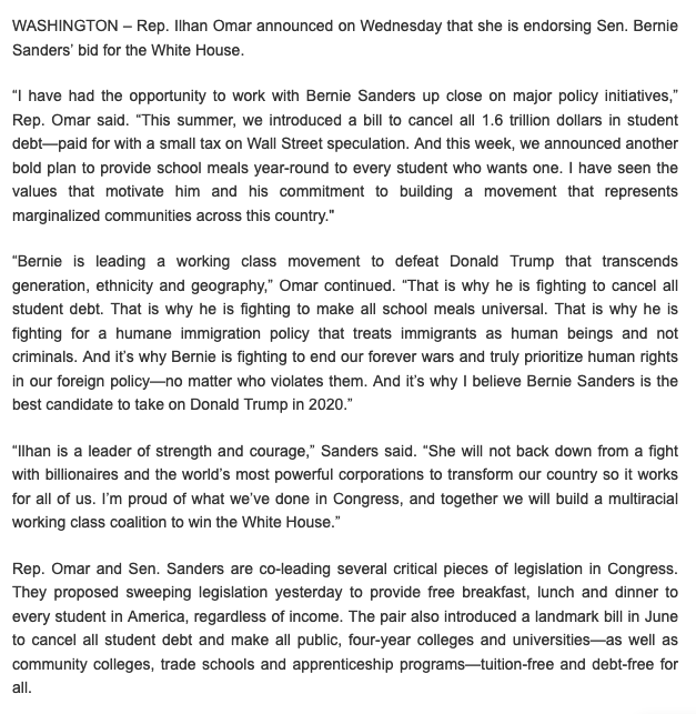 "In addition to news about @AOC, Rep. @Ilhan Omar has just officially endorsed @BernieSanders in Democrat Primary. ""Bernie is leading a working class movement to defeat Donald Trump that transcends generation, ethnicity and geography,"" @IlhanMN said. Full campaign statement: https://t.co/MuAxUMho51"