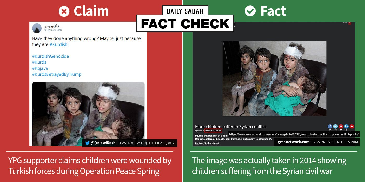 FACT CHECK: YPG supporter shares a photo of wounded Syrian children taken in 2014, claiming it is from #OperationPeaceSpring https://t.co/PtJgfN8k8M