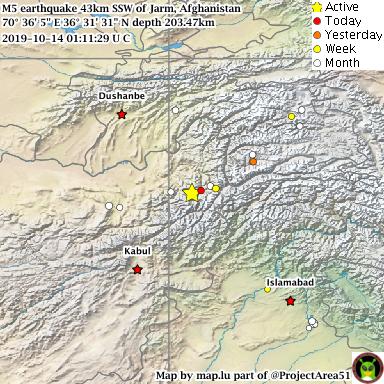 "test Twitter Media - Mag 5 earthquake 43km SSW of Jarm, Afghanistan Time 2019-10-14 01:11:29 UTC Depth 203.47km Position 70° 36' 5"" E 36° 31' 31"" N Map https://t.co/scpF8hU3Cn #earthquake https://t.co/x6echIAeWG"