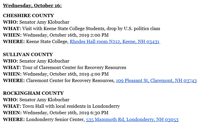 test Twitter Media - .@WMUR9 reported last week @amyklobuchar will tour all 10 NH counties 10/16-17. Full schedule just released and is here #fitn #nhpolitics https://t.co/xaabiAZNDg via @jdistaso https://t.co/YwLOla9IAT