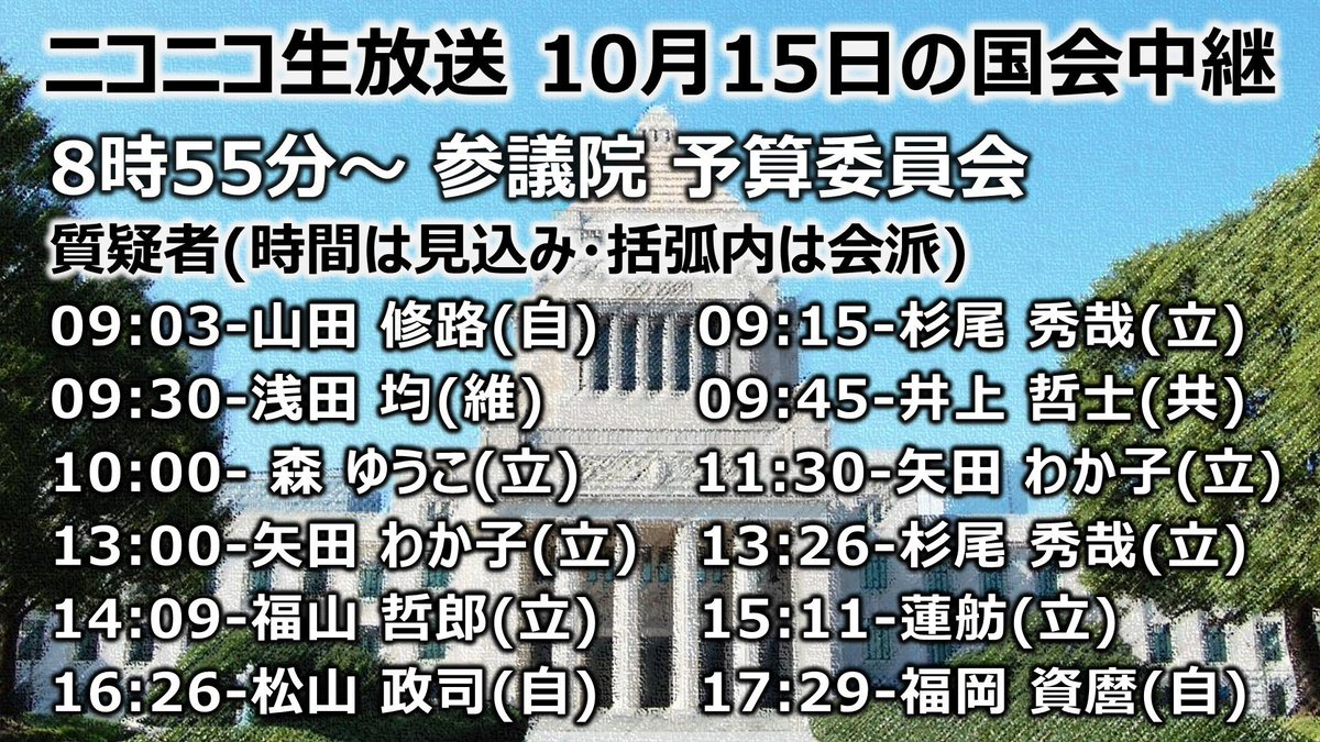 test ツイッターメディア - 本日の #国会 中継  ▽参議院 予算委員会 生中継 https://t.co/YR7gVVfGAu  台風19号による被害を受けて、当初予定していた7時間の質疑時間に加え、台風に関する質疑を集中的に行う時間を1時間追加して開催されています。  #kokkai #seiji #参議院 #国会中継 https://t.co/jAeWmq30ee