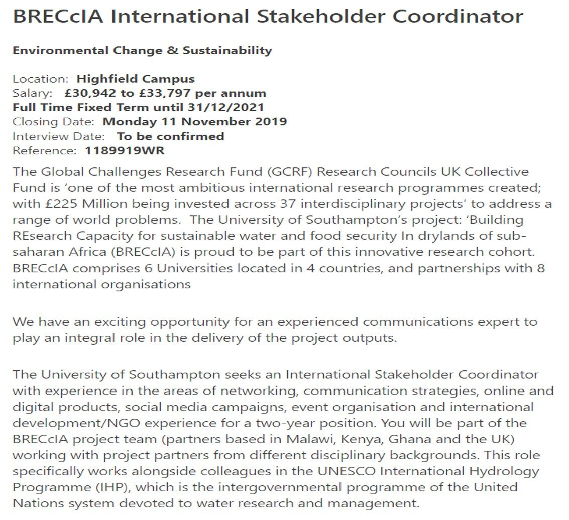 test Twitter Media - We're hiring! A position for someone skilled in international project communication & stakeholder engagement, apply online by the deadline Monday 11th November 2019: https://t.co/a2bZe4dq7k @UNESCO @GCRF @geogsouthampton @cdknetwork @IIED Share widely across your networks! https://t.co/cG88x1knvI