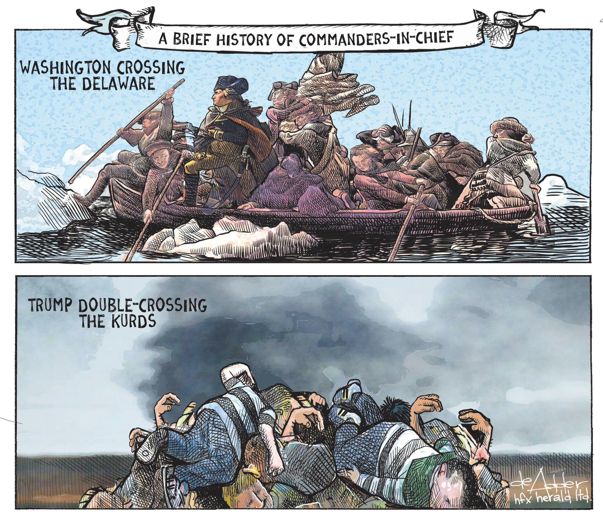 Cartoon for @chronicleherald #Trump #Kurds #KurdsBetrayedByTrump #KurdsBetrayed #uspoli https://t.co/x1Yxvh7G1u