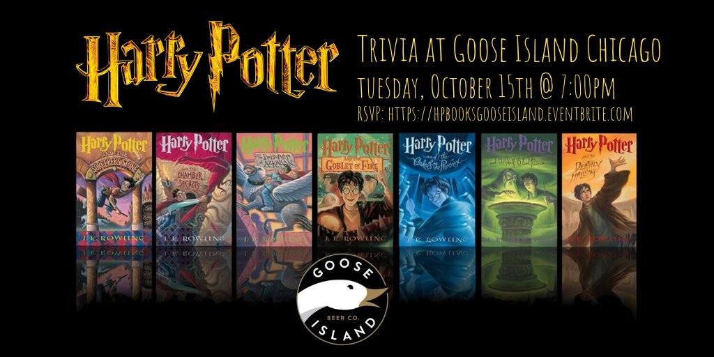 test Twitter Media - Harry Potter Books Trivia TONIGHT at 7pm! @gooseisland @gooseclybourn RSVP: https://t.co/1Wahdr13hp #gooseisland #chicago #harrypotter #harrypottertrivia #jkrowling #hogwarts #hermionegranger #ronweasley #gryffindor #triviatainment https://t.co/uxDHtmNKi6